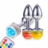 Анальная металлическая LED пробка (размер L)