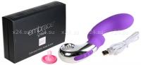 Мощный массажер G-точки на подзарядке EMBRACE G-WAND (6 режимов) фиолетовый с серебряным