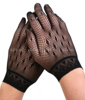 Коротенькие черные перчатки в сеточку