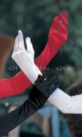 Красные атласные высокие перчатки