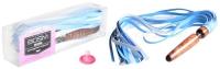 Деревянная анальная втулка-плеть коричневый с голубым