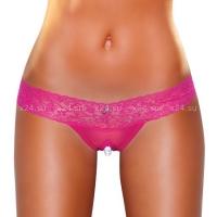 Розовые ажурные стринги с разрезом и жемчужной нитью SM