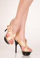 Золотистые туфли с розочкой 39
