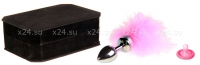 Малая металлическая серебряная пробка с розовой опушкой Toyfa