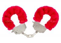 Металлические наручники с красным мехом Furry Fun Cuffs