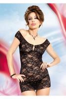 Черное ажурное мини-платье с открыми плечами