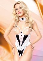 Эротичное боди горничной с открытой грудью и разрезом в интимном месте SM