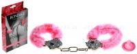 Металлические наручники со стразами и розовым мехом Crystal Handcuffs