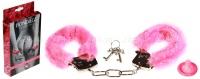 Металлические наручники с розовым мехом Furry Cuffs Pink