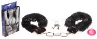Металлические наручники с черным мехом Furry Cuffs Black