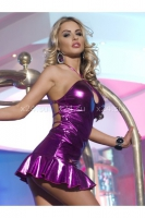 Блестящее розовое мини-платье с открытой спинкой