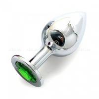 Большая серебряная пробка с зеленым кристаллом