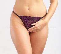 Черно-фиолетовые кружевные стринги S