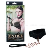 Кожаный простроченный ошейник с поводком-цепью Posture Collar with Leash