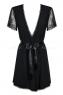 Короткий черный халат с гипюровыми рукавами Miamor Robe LXL