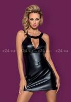 Черное кожаное платье с вырезом на груди Darksy Dress LXL