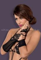 Длинные перчатки с вязанными вставками Luiza Mittens