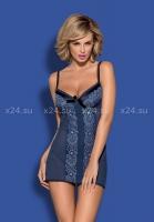 Синяя сорочка с кружевом на косточках Auroria Chemise LXL
