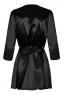 Черный атласный халатик с кружевом на рукавах Satina Robe SM