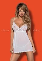 Белая прозрачная сорочка на косточках Favoritta Babydoll LXL
