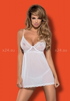 Белая прозрачная сорочка на косточках Favoritta Babydoll SM