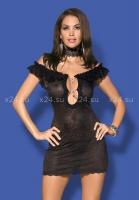 Черное платье с открытыми плечами и вырезом на груди с украшением Diamond Chemise LXL