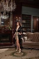 Длинный атласный черно-золотой халатик LXL