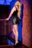 Черное блестящее мини-платье на завязках сзади SM