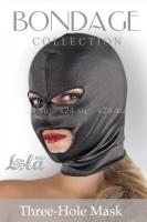 Шлем черный с прорезями для рта и глаз Three-Hole Mask