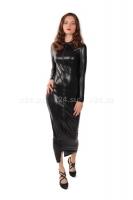 Кожаное длинное платье на молнии SM