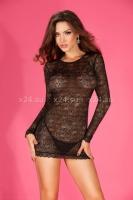 Черное мини-платье прозрачное с открытой спиной XL