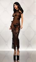 Чёрное прозрачное платье в пол с атласными бантиками Bedroom Diva SM