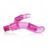 Гибкий розовый  вибратор с клиторальным стимулятором Bendies (10 функций)