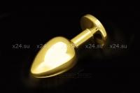 Большая тяжелая золотая металлическая пробка со светло-розовым кристаллом