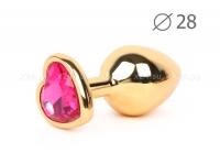 Малая золотая пробка с малиновым кристаллом в виде сердца Jewelry Plugs Anal