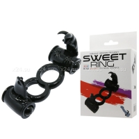 Двойное эрекционное кольцо с двойным вибратором Sweet Ring