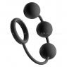 Тяжелые анальные шарики с эрекционным кольцом Tom of Finland