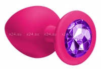 Большая силиконовая пробка с фиолетовым кристаллом Cutie Large