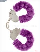 Металлические наручники с сиреневым мехом