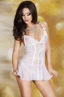 Белое мини-платье с кружевной вставкой M