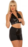 Черная юбка с виниловой вставкой M Captive Emotions