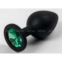 Черная силиконовая пробка с зеленым кристаллом