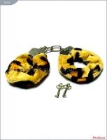 """Металлические наручники с пятнистым мехом """"под леопарда"""""""