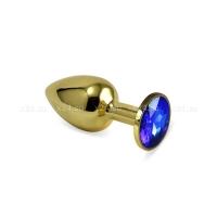 Малая золотая металлическая пробочка с синим кристаллом