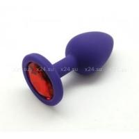 Малая фиолетовая силиконовая пробка с красным кристаллом