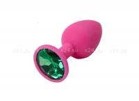 Малая розовая силиконовая пробка с зеленым кристаллом