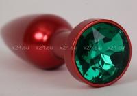 Красная  металлическая пробочка с зеленым кристаллом