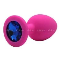 Малая розовая силиконовая пробка с синим кристаллом