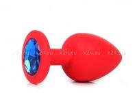Малая красная силиконовая пробка с синим кристаллом