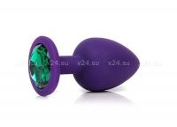 Средняя фиолетовая силиконовая пробка с зеленым кристаллом